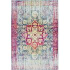 Tillamook Traditional Silk Distressed Floral Rose/Bright Pink Area Rug Rug Size: Rectangle 5'3