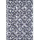 Arison Traditional Hand Hooked Wool Dark Blue Area Rug Rug Size: Rectangle 6' x 9'