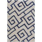 Ameila Geometric Handmade Light Gray & Navy Area Rug Rug Size: 2' x 3'