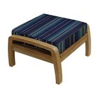 Somerset Outdoor Teak Ottoman with Sunbrella Cushion Fabric: Stanton Lagoon