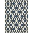 Aidyn Hand-Knotted Blue/Ivory Area Rug Rug Size: Rectangle 3'9
