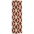 Aidyn Hand-Knotted Brick/Ivory Area Rug Rug Size: Runner 2'3