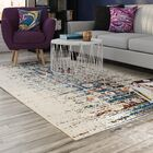 Sylvia Ivory/Blue Area Rug Rug Size: Rectangle 6'7
