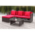 Eulalia 3 Piece Sectional Set with Cushions Color / Upholstery: Brown / Red