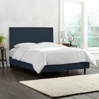 Kovach Upholstered Panel Bed with Mattress Size: Twin, Color: Linen - Navy