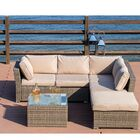 Amesbury 4 Piece Rattan Sectional Seating Group with Cushions