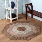 Country Hand-Braided Beige Area Rug