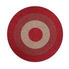Braided Stripe Barn Red/Tan Area Rug Rug Size: Round 6'
