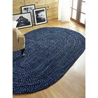 Chenille Reverible Tweed Braided Navy/Smoke Blue Indoor/Outdoor Area Rug Rug Size: Round 8'