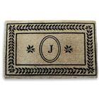 Leaf Border Monogrammed Doormat Letter: J
