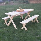 Sherburne Pine Cross-leg Picnic Table with 2 Benches Finish: Unfinished