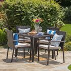 Stewartstown 5 Piece Dining Set with Cushions Finish: Brown