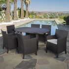 Rhawnhurst Outdoor 7 Piece Dining Set with Cushions Color: Brown