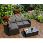 Arden 5 Piece Teak Sectional Set with Sunbrella Cushions Fabric: Canvas Flax