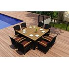 Arbor 9 Piece Teak Dining Set with Sunbrella Cushions Color: Canvas Henna