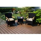 Arbor 3 Piece Sunbrella Conversation Set with Cushions Cushion Color (Fabric): Canvas Flax