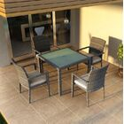 District 5 Piece Sunbrella Dining Set with Cushions Color: Cast Silver
