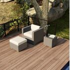 Element 3 Piece Teak Conversation Set with Sunbrella Cushions Fabric: Canvas Flax