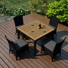 Arbor 5 Piece Teak Dining Set with Sunbrella Cushions Color: Canvas Charcoal