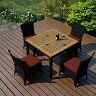 Arbor 5 Piece Teak Dining Set with Sunbrella Cushions Color: Canvas Henna