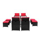Cauley Space Saving Outdoor Furniture Rattan Patio 8 Piece Dining Set Cushion Color: Black/Red