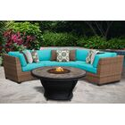 East Village 4 Piece Rattan Sectional Set with Cushions Color: Aruba