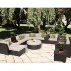 Barbados 12 Piece Rattan Sectional Set with Cushions Fabric: Beige