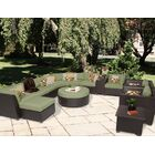 Barbados 12 Piece Rattan Sectional Set with Cushions Fabric: Cilantro