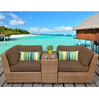 East Village 3 Piece Rattan Sectional Set with Cushions Color: Cocoa