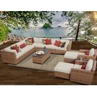 East Village 13 Piece Rattan Sectional Set with Cushions Color: Beige