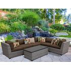 Florence 7 Piece Rattan Sectional Set with Cushions Fabric: Cocoa