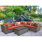 Florence 7 Piece Rattan Sectional Set with Cushions Fabric: Tangerine