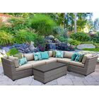 Florence 7 Piece Rattan Sectional Set with Cushions Fabric: Beige