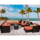 Barbados 13 Piece Rattan Sectional Set with Cushions Fabric: Tangerine