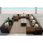 Barbados 17 Piece Rattan Sectional Set with Cushions Fabric: Cocoa