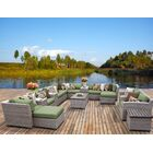 Florence 17 Piece Rattan Sectional Seating Group with Cushions Fabric: Cilantro