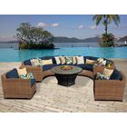 Asellus 8 Piece Sectional Set with Cushions Color: Navy