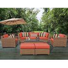 East Village 8 Piece Rattan Sofa Set with Cushions Fabric: Tangerine