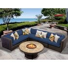 Eldredge 7 Piece Sectional Set with Cushions Color: Navy