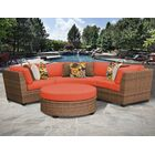 East Village 4 Piece Rattan Sectional Set with Cushions Color: Tangerine