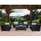 Barbados 6 Piece Rattan Sofa Set with Cushions Color: Navy
