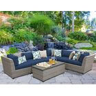 Florence 7 Piece Rattan Sectional Set with Cushions Fabric: Navy