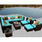 Barbados 12 Piece Rattan Sectional Set with Cushions Color: Aruba