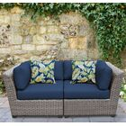 Florence 2 Piece Rattan Conversation Set with Cushions Color: Navy