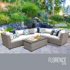 Florence 7 Piece Rattan Sectional Set with Cushions Fabric: White
