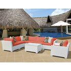 Monaco 8 Piece Sectional Set with Cushions Cushion Color (Fabric): Tangerine