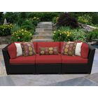 Barbados 3 Piece Patio Sofa with Cushions Color: Terracotta