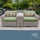 Coast 3 Piece Conversation Set with Cushions Cushion Color (Fabric): Cilantro