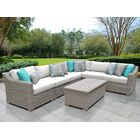 Coast 7 Piece Sectional Set with Cushions Cushion Color: White