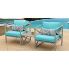 Carlisle 3 Piece Outdoor Conversation Set with Cushions Cushion Color: Aruba